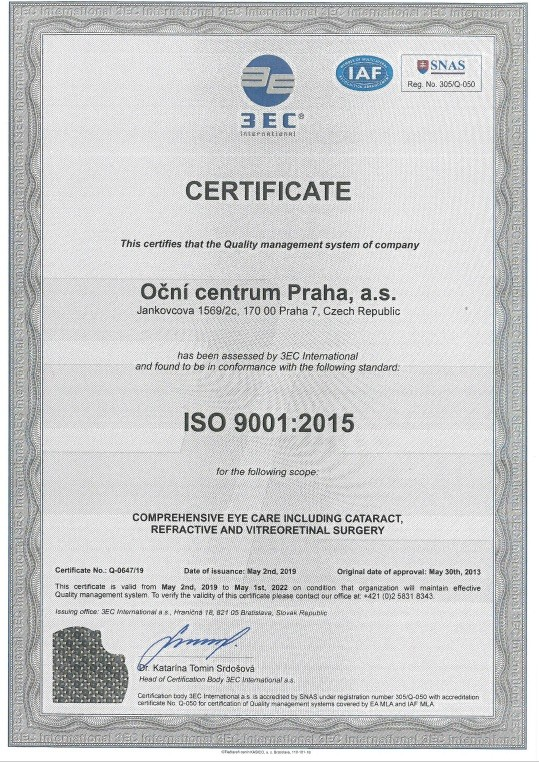 Eye centre Prague ISO certificate
